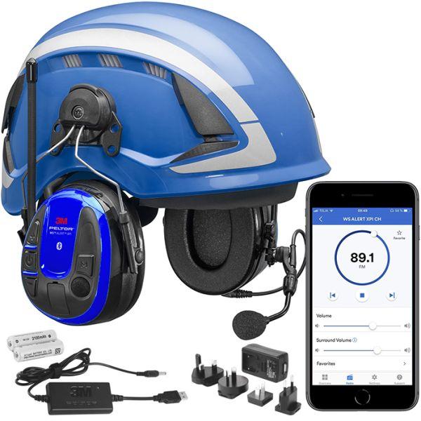 3M Peltor WS Alert XPI Kuulonsuojainpaketti kypärä, mobiilisovellus, latauspakkaus